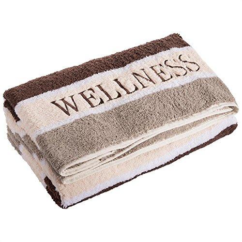 aqua-textil Wellness Saunatuch 80 x 200 cm Streifen braun Baumwolle Frottee Sauna Handtuch Strandtuch