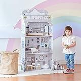 Teamson Kids Casa delle Bambole in Legno Grigio A 3 Piani E Accessori TD-11683D