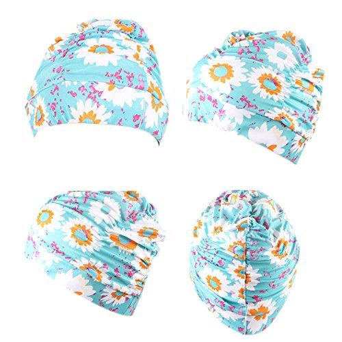 Allegorly Schwimmhaube Badekappe für charmante Damen Schwimmen Hut Mädchen Lange Haare wasserdichte Badehaube Stretch drapieren Multicolor Blume gedruckt