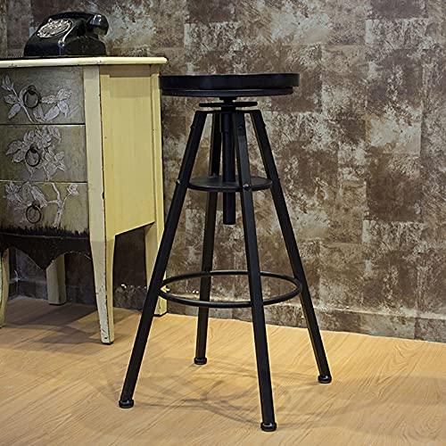 XPHZHJ- Barstools Taburetes de Bar Asiento de Madera Maciza Estructura de Metal Sillas de mostrador para Exteriores Bistro Asiento Redondo Tienda de postres Taburetes de Bar Muebles de Patio Negro
