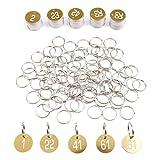 Anladia 1-100 numeriert Kennzeichnungsmarken Textmarken Zahlenmarken Schlüsselmarken Gold