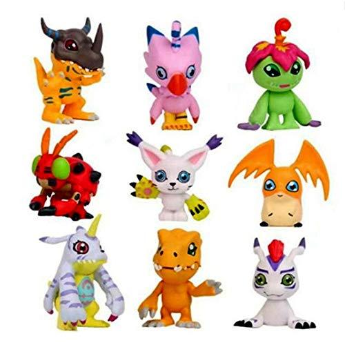 Yzoncd 9 Piezas De Dibujos Animados Digimon Adventure Figuras Estatua Wargreymon Agumon Gabumon Palmon Tentomon PVC Figura Modelo Chico Muneca De Juguete