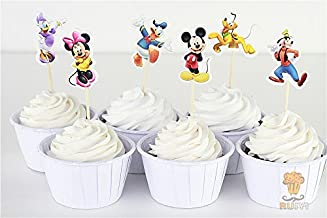 KBN 24pcs Mickey Minnie daisy candy bar cupcake toppers picks decoration baby shower kids birthday party supplies