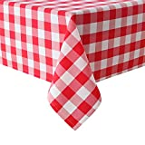 Hiasan Red and White Checkered Tablecloth Rectangle - Stain Resistant, Waterproof and Washable Plaid Table Cloth for Picnic, Holiday Dinner and Kitchen, 60 x 120 Inch