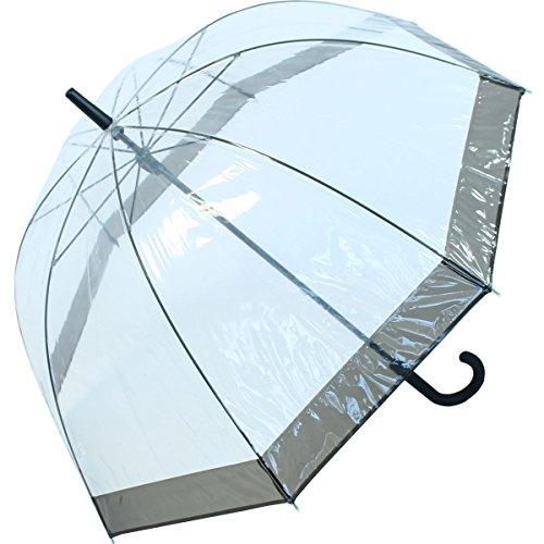 Paraplu transparant/doorzichtig klok scherm zwart