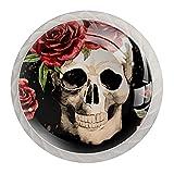 Manija de cajón perilla de tocador perilla de cajón perillas de gabinete tiradores de cajón para decoración de cocina de baño de oficina (4 piezas)Cráneo gótico con rosa