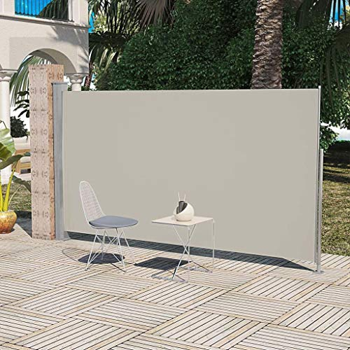 UnfadeMemory Tendalino Laterale per Patio terrazzo Tenda a Vela Parasole Vele Parasole da Giardino (160 x 300 cm, Crema)