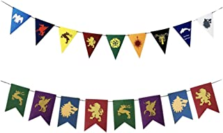 CheeseandU 2Pack Game of Thrones Banner House Sigil Garland Glittering Felt Bunting GOT Theme Party Supplies for GOT Party Decoration Kids Birthday Party Decorations