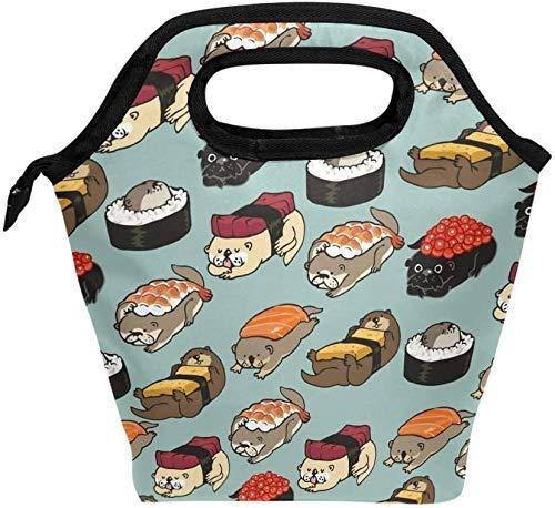 Bolsa de almuerzo con estampado de nutria de sushi, lonchera reutilizable con aislamiento, lonchera térmica más fría para la oficina de trabajo de la escuela