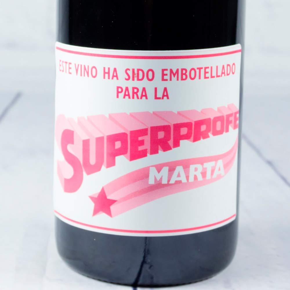 Calledelregalo Regalo Personalizable para profesoras: Botella de Vino para superprofes Personalizada con su Nombre (Botella Súper Profe Rosa): Amazon.es: Hogar