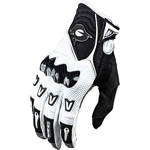 O'NEAL | Gant vélo Moto | MX MTB DH FR Descente Freeride | 4-Way Stretch, Protection des Phalanges en Carbone, Impressions Silicone, Nanofront® | Gants Butch Carbon | Adulte | Blanc Noir | Taille S