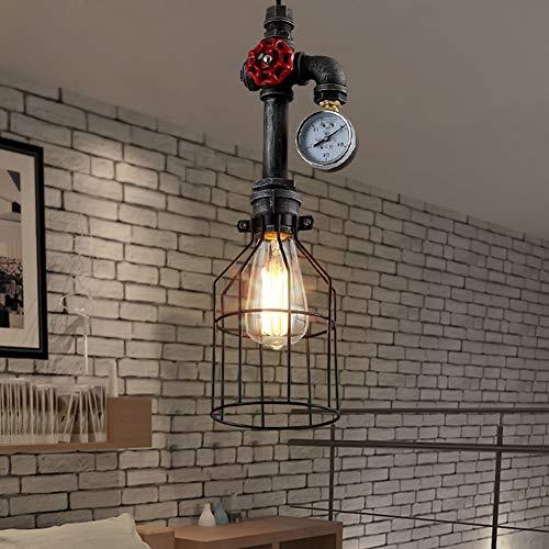 Rishx Loft Industriel Fer Vintage Pendentif Lampe Rétro Tuyau D'eau Steampunk E27 LED Pendentif Lumières Antique Edison Plafond Éclairage pour Chambre Chambre Bar Restaurant Cuisine