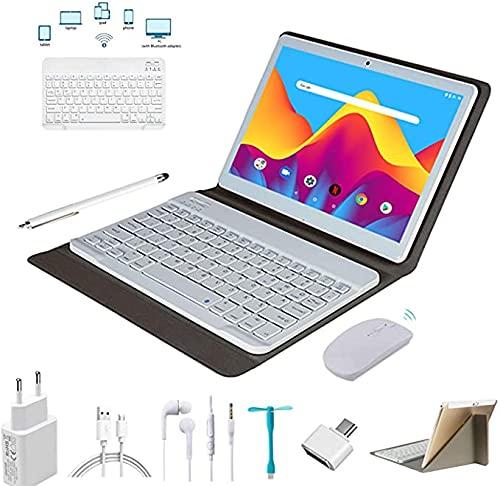 4G Tablet 10 Pollici,Android 9.0 4GB RAM 64GB ROM 128 GB Espansione - Dual SIM Quad core Tablets Con Tastiera Doppia Fotocamera | 8000mAh | WI-FI| Bluetooth | GPS Tablet Con wifi Offerte (d oro)