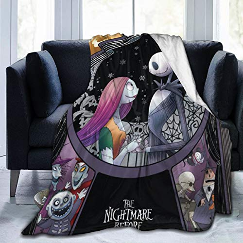 Nightmare Before Christmas Ultra Soft Throw Blanket Flannel Fleece All Season Light Weight Living Room/Bedroom Warm Blanket , Black ,60'' x50