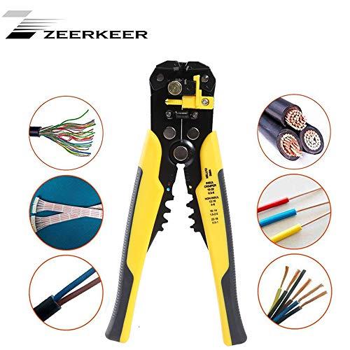 Zeerkeer Pelacables Profesional Alicates con Incluso llend cabeza y regulable de ajuste rápido para plano y plástico. Uso para versátil, Amarillo