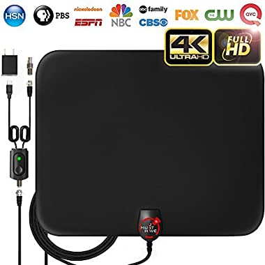 [NEWEST 2018] Amplified HD Digital TV Antenna with Long 65-80 Miles Range – Support 4K 1080p & All Older TV's for Indoor with Powerful HDTV Amplifier Signal Booster - 18ft Coax Cable / Power Adapter