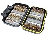 Wild Water Forellenstimulator Fliegen-Sortiment, 42 Fliegen mit Kleiner Fliegenbox