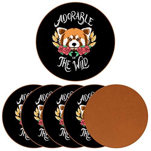 Paquete de 6 posavasos para bebidas, adorable oso marrón en el salvaje festivo, tapete para taza de bienvenida a la casa, decoración de bar