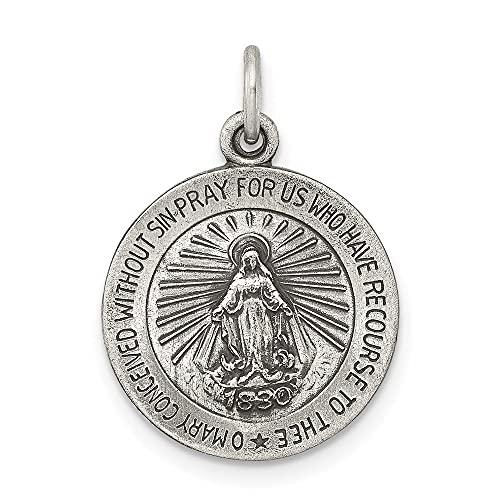 Diamond2Deal - Colgante de medalla milagrosa de plata de ley 925
