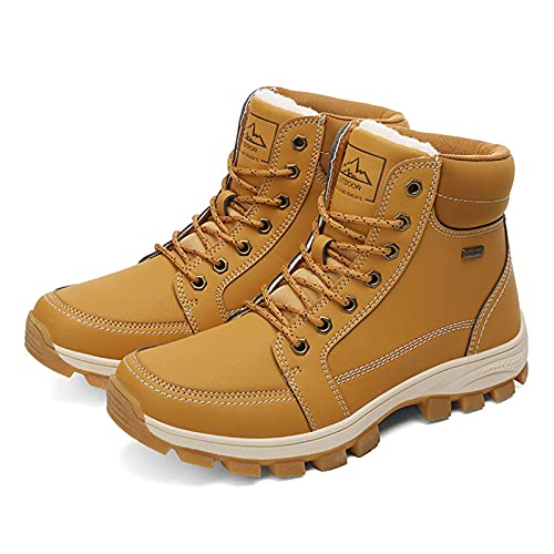 Botas De Nieve Hombre Invierno Botines Zapatos Cálido Fur Forro Aire Libre Boots Impermeables Zapatillas De Senderismo,Amarillo,44 EU