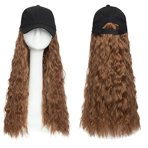 Baseball Cap Wig Hat with Hair Water Wave Synthetic Hair Extension Hair Piece with Black Cap for Women Fake Hair,2