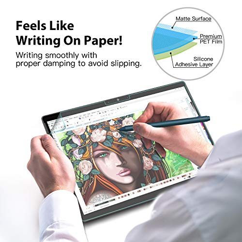 MoKo Like Paper Screen Protector Compatible with Microsoft Surface Pro X, [Like Paper Film Writing] Anti-Glare Premium PET Film fit Microsoft Surface Pro X - Clear