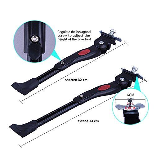 tinxi® Fahrradständer Seitenständer Hinterbau Mittelbau verstellbar 24″ 26″ Universal mit Anti-Rutsch Gummifuß Aluminiunlegierung - 2