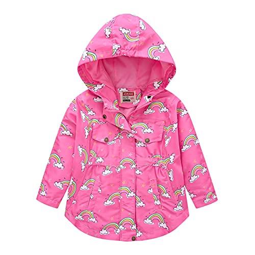Chubasqueros para niños, con capucha, con cremallera, para niños, de 2 a 9 años, hot pink, 4-5 años