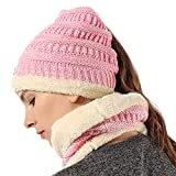 Girls Trendy Messy Bun Beanie Ponytail Knit Scarf Hat Set Stretch Cable Chunky Bun Hat Mix