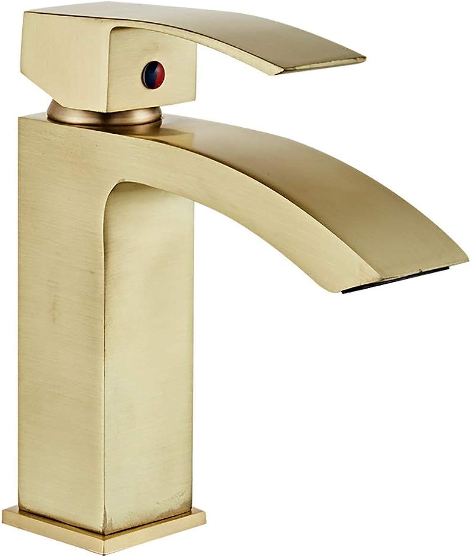 WYRSXPY Waschtischarmatur Nordic Gebürstetem Messing Einfache Waschbecken Armaturen Heien Und Kalten Waschbecken Wasserhahn (Farbe   Gold(A))
