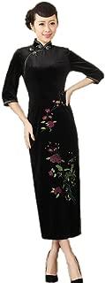 AvaCostume Women's Pleuche 3/4 Sleeve Peony Gorgeous Qipao Maxi Dress