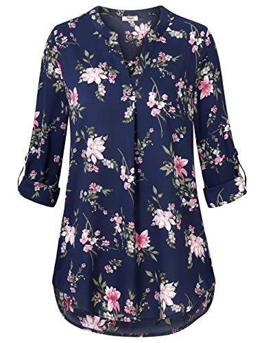 Timeson Blouses for Women Plus Size,Womens Tops Business Casual V Neck Floral Chiffon Tunic Shirts Womens Dress Shirts and Blouses for Work Loose Fitting A Line High Low Hem Tops Blue Pink Medium