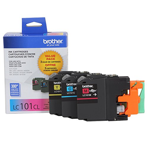 Brother LC101-3PKS Combo Pack Ink Standard Yield (3x 300 Yield)(C/M/Y) by Brother