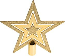 Clever Creations Flat Star Tree Topper Gold Glitter 5 Point Star | Festive Christmas..