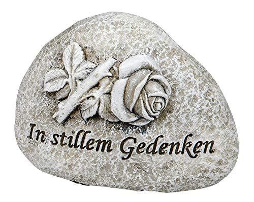 dekojohnson Grabschmuck Grabstein wetterfest mit Einer Rose und der Aufschrift In stillem Gedenken Grabdekoration Deko-Stein antik grau 11cm
