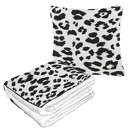 XHYYY Travel Blanket and Pillow Fabric Texture Animal Print Soft Travel Blanket Pillow Warm Soft Fleece 2-in-1...