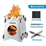 TOMSHOO Camping Wood Stove Portable Folding Lightweight Stainless Steel Wood Burning Backpacking Stove for Outdoor Survival Cooking Picnic Hunting (Square)