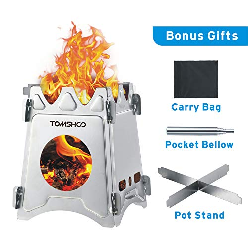 TOMSHOO Camping Wood Stove Portable Folding Lightweight Stainless Steel Wood Burning Backpacking Stove for Outdoor Survival Cooking Picnic Hunting (Stainless Steel)