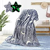 Glow in The Dark Throw Blanket for Kids 50 x 60 Inches,Glowing Blanket with Star Moon Pattern for Bed Sofa Couch,Baby Soft and Cozy Warm Fluffy Blankets,Unique Gifts for Boys Girls and Grandkids