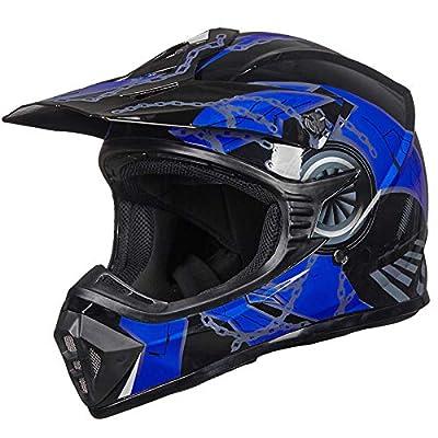 ILM Adult Youth Kids ATV Motocross Dirt Bike Motorcycle BMX MX Downhill Off-Road Helmet DOT Approved (Blue Black, Youth-L)