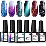 UR SUGAR 7,5ML Esmalte de Gel Kit, Ojo de Gato, Camaleón Color Cambia Temperatura, Glitter de Uñas Semipermanente UV LED Brillo, 6Pcs Manicura Ensemble pour Démarreur