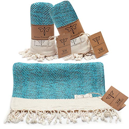 Smyrna Original Turkish Hand Towels Herringbone Series Set of 2 | 100% Cotton, 16 x 40 Inches | Decorative Bathroom Peshtemal Towel for Hand, Face, Hair, Gym, Yoga, Tea, Kitchen and Bath (Turquoise)