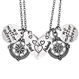 Bold N Elegant Friendship's Special No Matter Where BFF Pendant Chain Necklace Combo