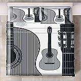 Juego De Funda Nórdica,Ababilart Instrumento Musical Guitarra Creatividad. 240X200 Cm 3D Ropa De Cama Para Viaje O Para Morir Fundas Nórdicas Microfibra Hipoalergénica 3 Piezas Funda Nórdica Amante Co