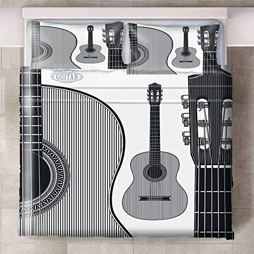Ababilart King Size Duvet Cover Sets 100% Microfiber Duvet Covers With 2 Pillowcases ,Modern Style Hypoallergenic Bedding Set King 102X94 Inch Musical Instrument Guitar Creativity