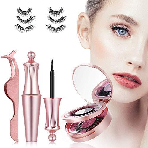 【3 Paare】3D magnetische Wimpern mit magnet Eyeliner,magnetic Wimpern,natürliche künstliche falsche Eyelashes,wasserdicht