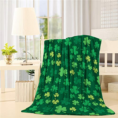 LALADecor St. Patrick's Day Plush Microfiber Fabric Throw Blanket Lightweight Warm Couch Bed Blankets 40x50 inch Green Lucky Shamrocks Irish Clover
