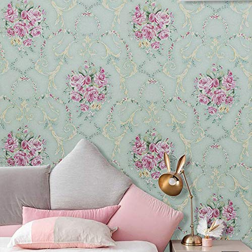 Peel and Stick Wallpaper Removable Vintage Green Floral Wall Paper Decorative Self Adhesive Shelf Liner Roll 17.7 Inch by 9.8 Feet