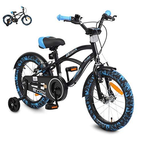 Byox Kinderfahrrad Cruiser 16 Zoll, mit Stützrädern, Metallrahmen, Klingel, Farben:blau