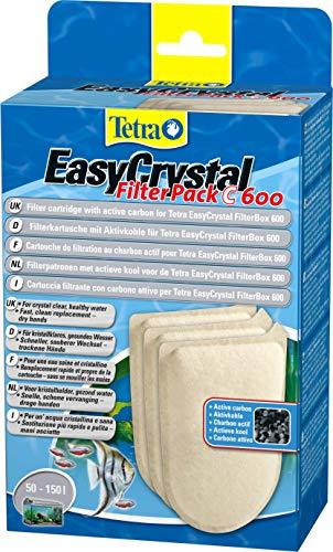 Tetra EasyCrystal Filter Pack C600 Filterpads mit Aktivkohle, Filtermaterial für EasyCrystal Innenfilter, geeignet für Aquarien von 50-150 Liter, 3 Stück